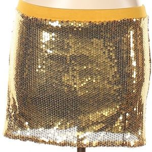 🍭🆕️Gold Sequin Mini Skirt Size M NWT🍭